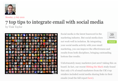 Integrating your email campaigns with your social media program